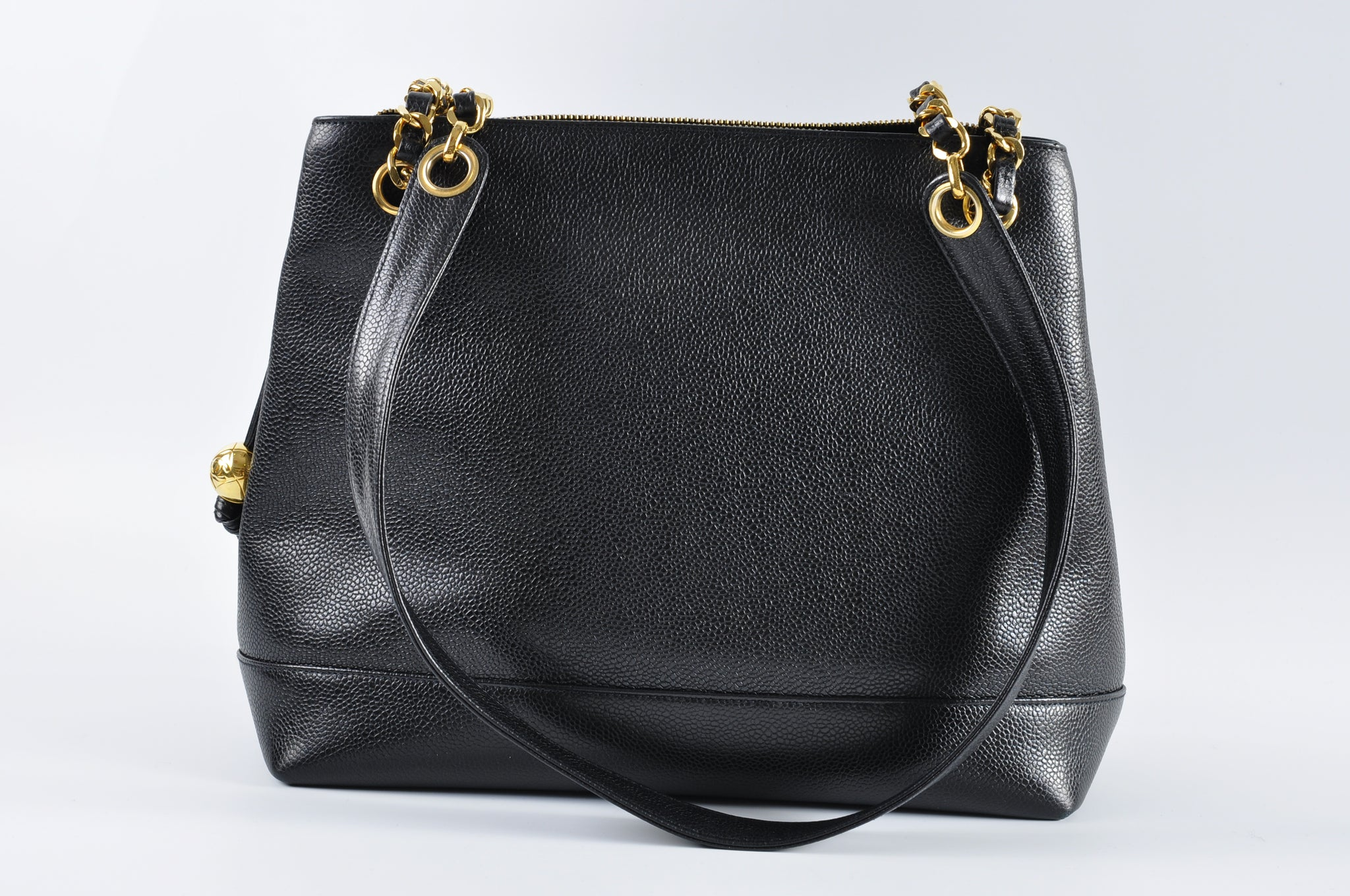 Chanel Vintage Caviar CC Shopper Tote in Black GHW - Glampot
