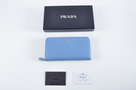 separation shoes 2f4cf 43915 Prada 1ML506 Saffiano Metal Mare 1 Zip Around Wallet – Glampot