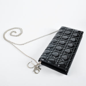 "Christian Dior Black Cannage Patent Leather ""pochette"" Medium Convertible Clutch - Glampot"