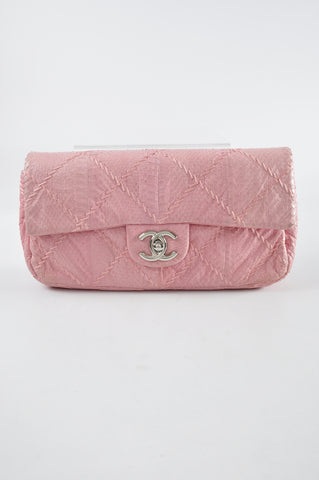 Chanel Small Pink Python Soft Flap SHW - Glampot