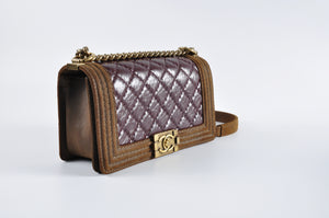 Chanel Boy Old Medium in Oxblood Aged Calf / Brown Nubuck 18189562 - Glampot