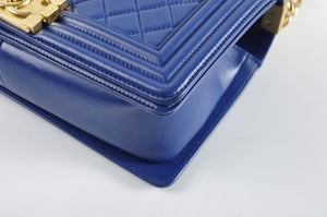 Chanel Boy Medium Blue Lambskin - Glampot