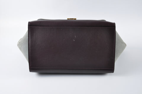 Céline Trapeze Medium Tricolor Grey Maroon - Glampot