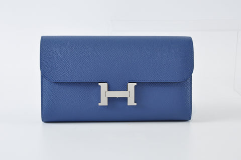 Constance Wallet in Epsom Leather Bleu Agate & Swift Leather Gris Perle - Stamp A