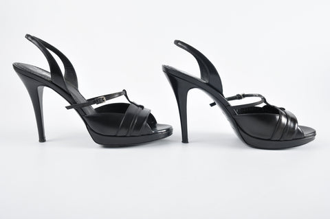 YSL Black Leather Sandals Size 39 1/2