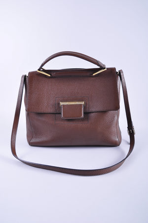 Furla Brown Grained Leather Handbag with Shoulder Strap