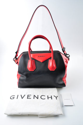 cb6a5853037e Givenchy Smooth Calfskin Medium Star Embossed Antigona Black Red 3C0172