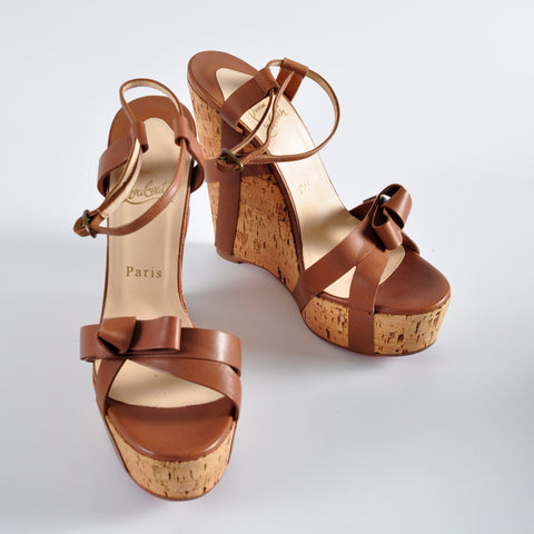 a04442ed276 Christian Louboutin Miss Cristo Wedge Sandals Brown Leather - Size ...
