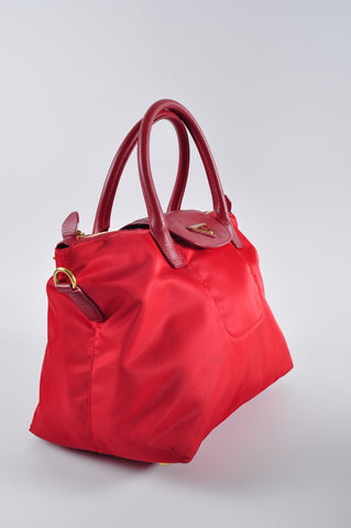 Prada BN2106 Red Nylon Tote with Shoulder Strap