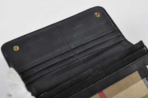 Burberry House Check Fabric / Black Leather Long with Wallet Snap Button Closure - Glampot