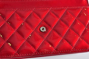 Chanel Red Patent Brilliant Wallet on Chain