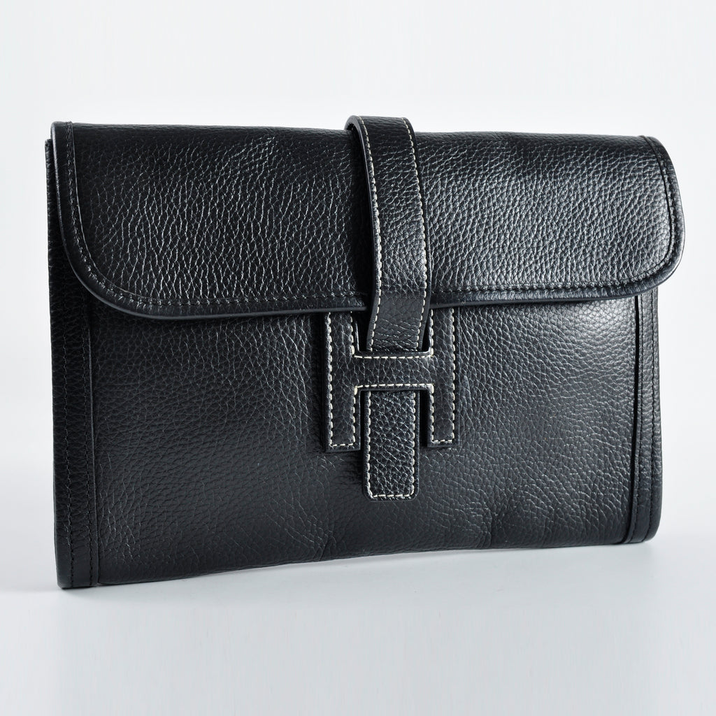 Hermes Jige PM Clutch Togo Noir Black Stamp [M]