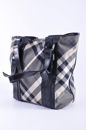 Burberry Black and White Nylon Nova Check Patent Trim Tote - Glampot