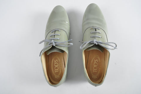 Tod's Grey Patent Tie Up Women Shoes Size 36 1/2