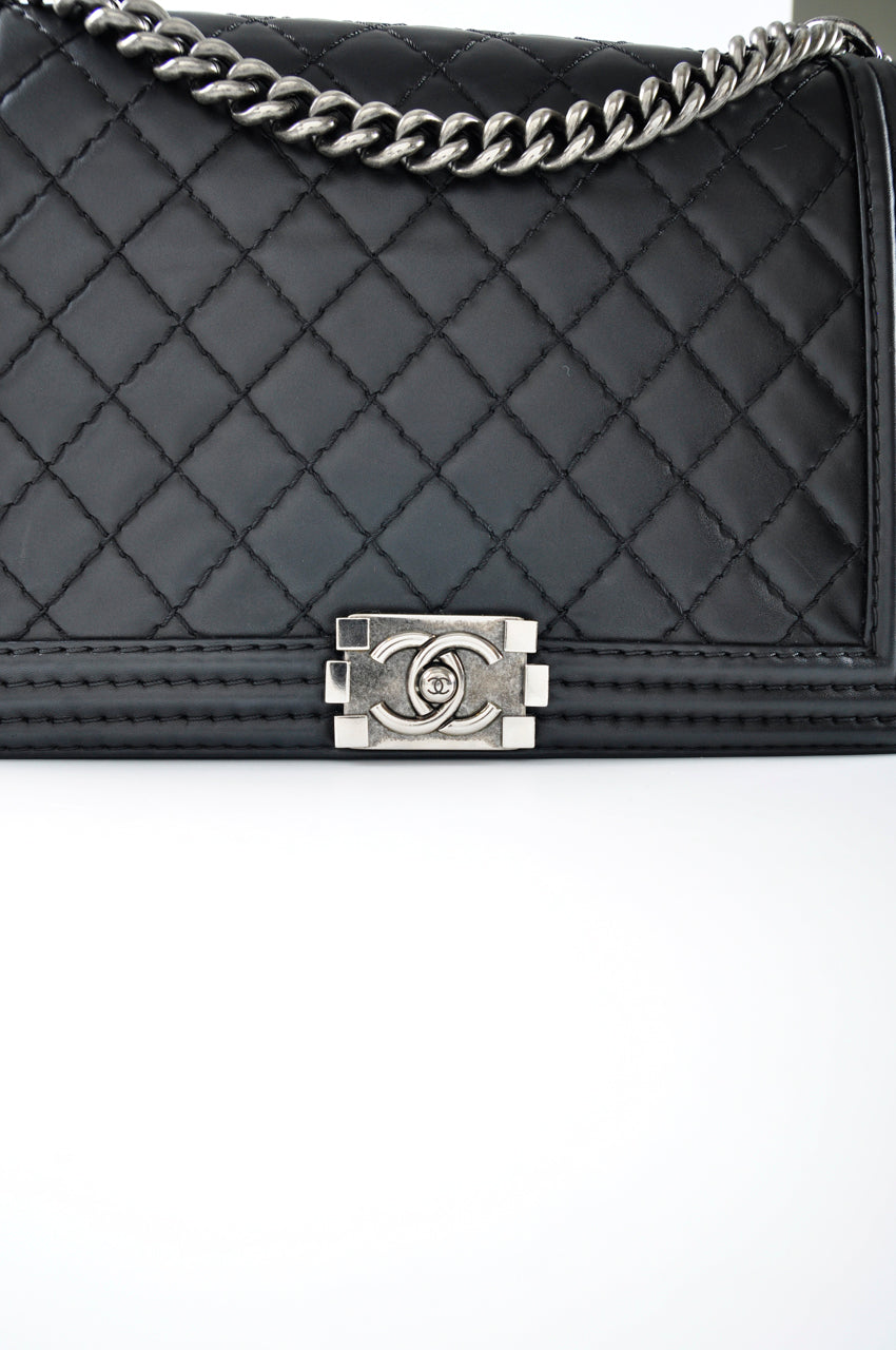 Chanel Large Boy in Black Quilted Calfskin 18452831