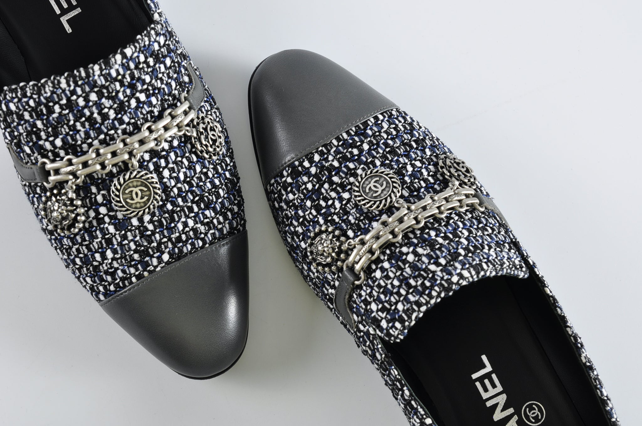 Chanel 16P G31651 Tweed Black White Blue Dark Grey Lambskin Grey Cap Toe Charm Loafers - Size 36.5 - Glampot