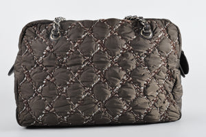 Chanel Paris-Byzance Tweed On Stitch Shoulder Brown Nylon Bag - Glampot