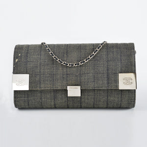 Chanel Quilted Denim 8552169 WOC Grey Clutch - Glampot