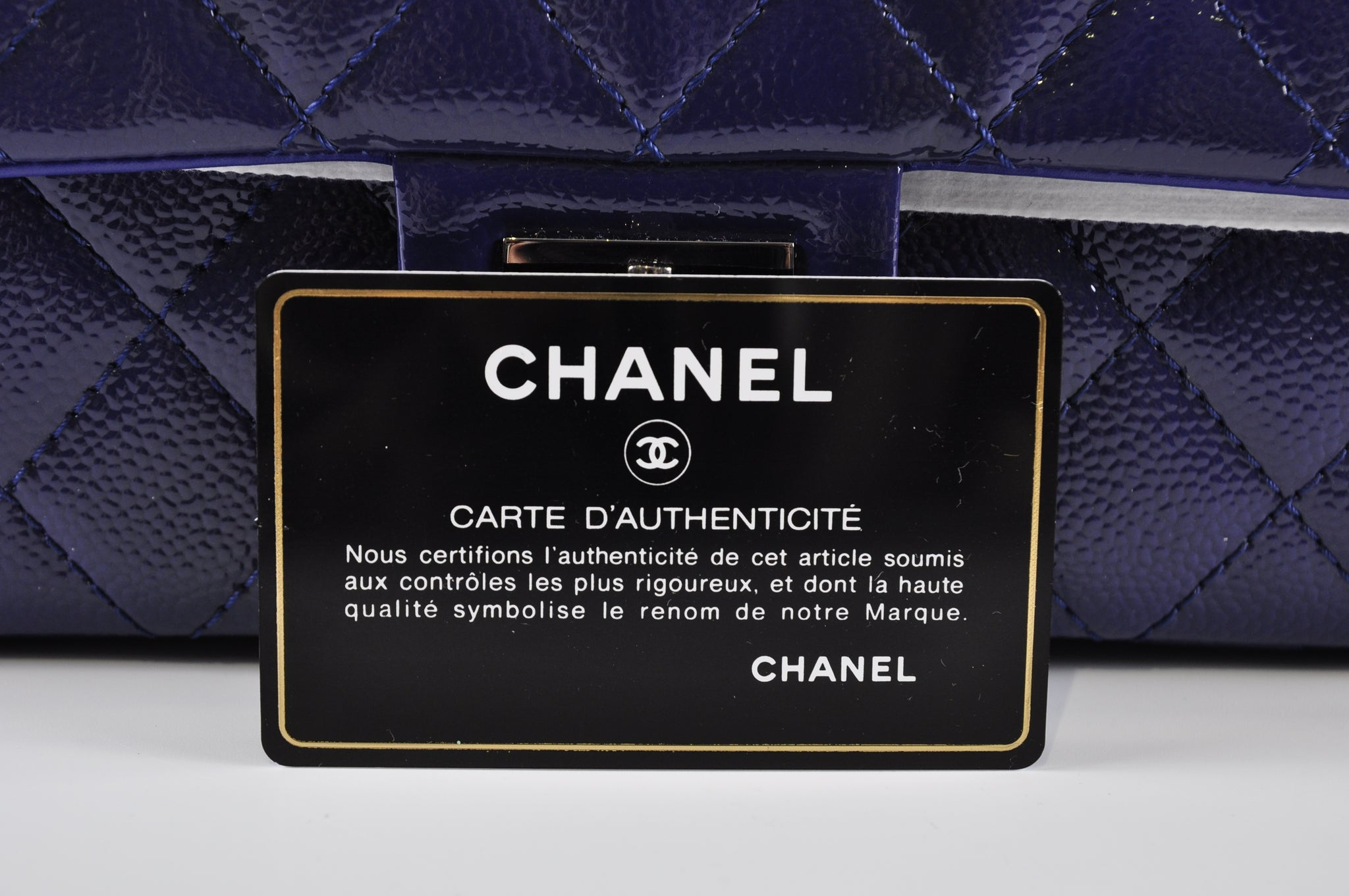 Chanel 227 Reissue Flap Bag In Blue Grained Patent Leather 20248996 - Glampot
