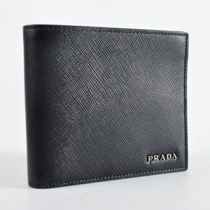 Prada 2M0738 Men's Saffiano Leather Bifold Wallet with Coin Pouch Nero Baltico