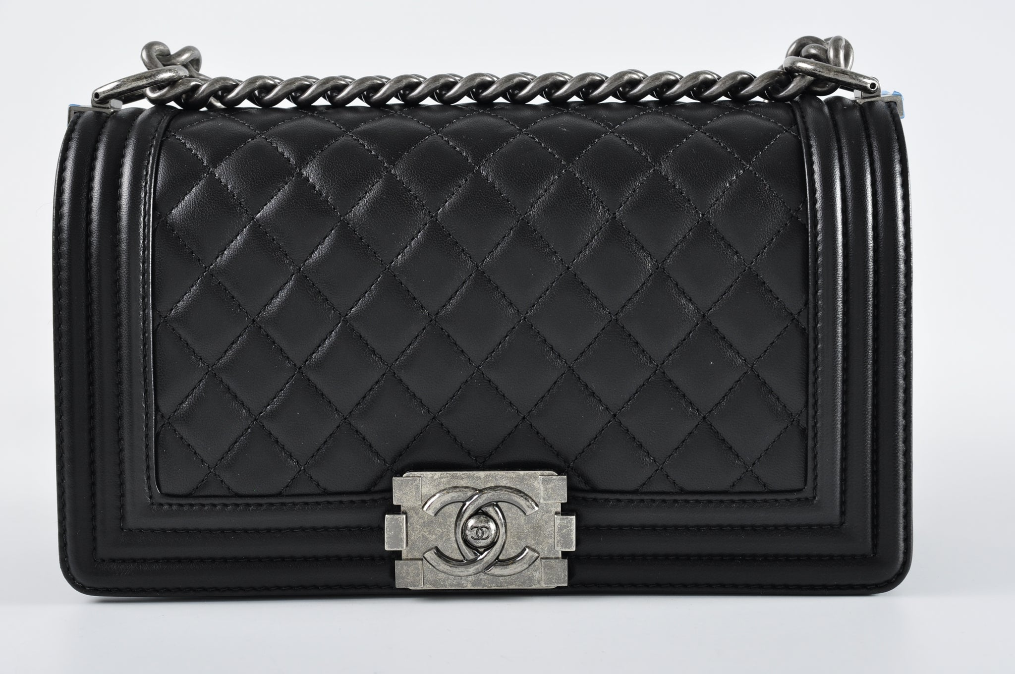 Chanel Boy Old Medium Black Quilted Lambskin Flap 23079305 - Glampot