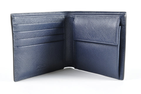 5d151a9fe0b8 Prada 2M0738 Men's Saffiano Leather Bifold Wallet with Coin Pouch Nero  Baltico