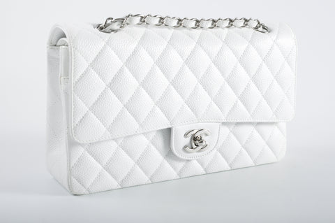 Chanel Classic Medium White Caviar Flap SHW 12029273 - Glampot
