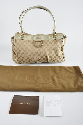 Gucci 189831 Sand/Ebony Cruise 'D gold' Small Tote Handbag