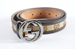 Gucci Brown Leather Beige GG Canvas Interlocking G Buckle Belt