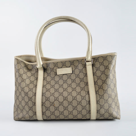 Gucci 114595 GG Supreme Coated Canvas Tote Ivory