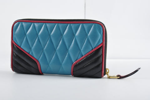 Miu Miu 5M0506 Nappa Biker Quilted Zip Around Wallet in Turquoise &  Black