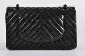 Chanel Chevron All Black Classic Flap Bag - Glampot