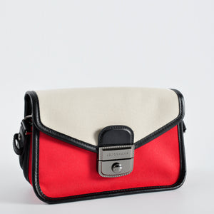 Longchamp Mademoiselle Colorblock Canvas Toile Small Crossbody Bag in Red 2026078