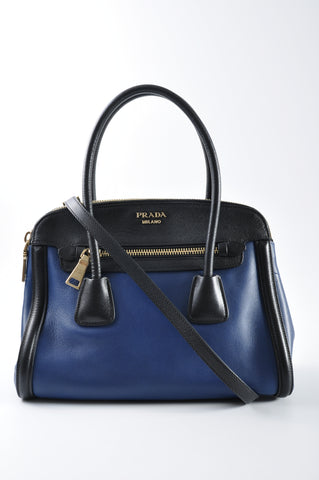 Prada BN2598 Blue City Calf and Black Saffiano Leather Tote