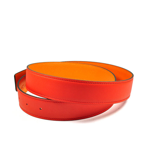 Hermès 32MM Belt Strap Capucine / Orange Swift / Epsom - Size 90
