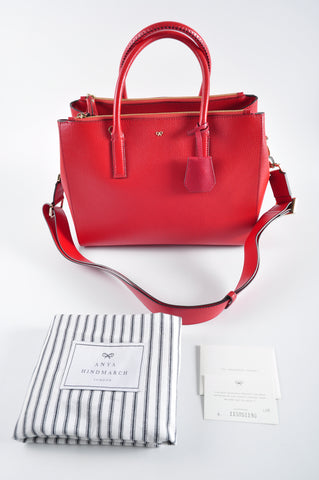 Anya Hindmarch Red Ebury Leather Tote with Strap and Smiley Motif 115051190 - Glampot