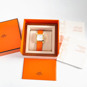 Hermès Heure H PM Watch Small Model 21 x 21 mm with Orange Leather Strap Stamp [R]