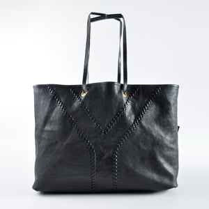 YSL Sac Neo Double Reversible Shopping Tote in Black / Metallic Bronze 265702 02026