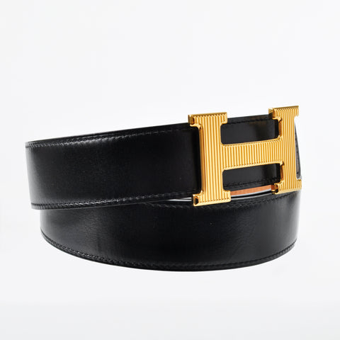 Hermes Belt Kit - Strap (Togo Gold / Box Black) Buckle : Gold Striped 32MM Size: 90cm Stamp P
