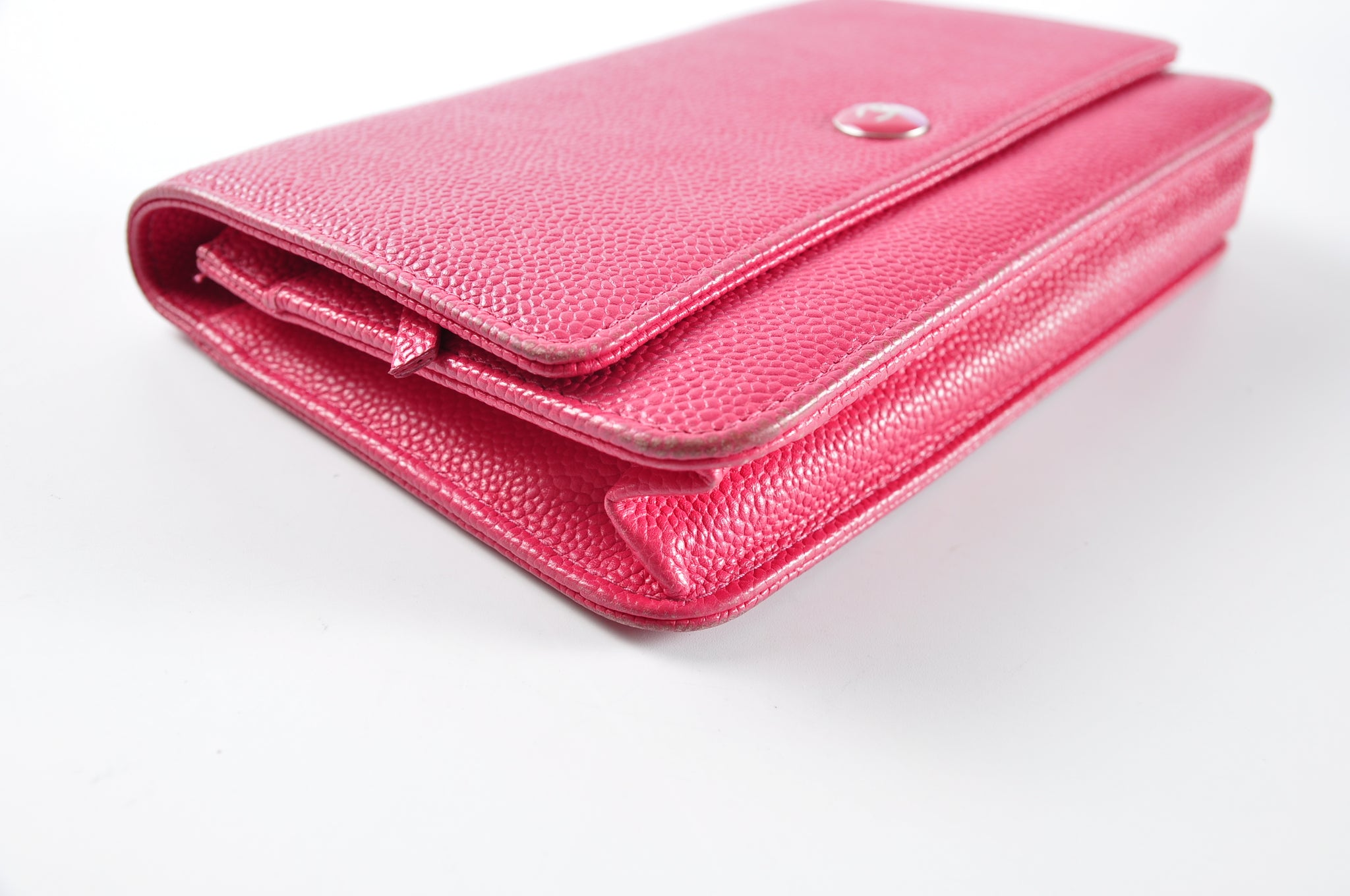 Chanel Wallet on Chain Classic Flap Timeless Mini CC Button Logo Pink Caviar Leather - Glampot