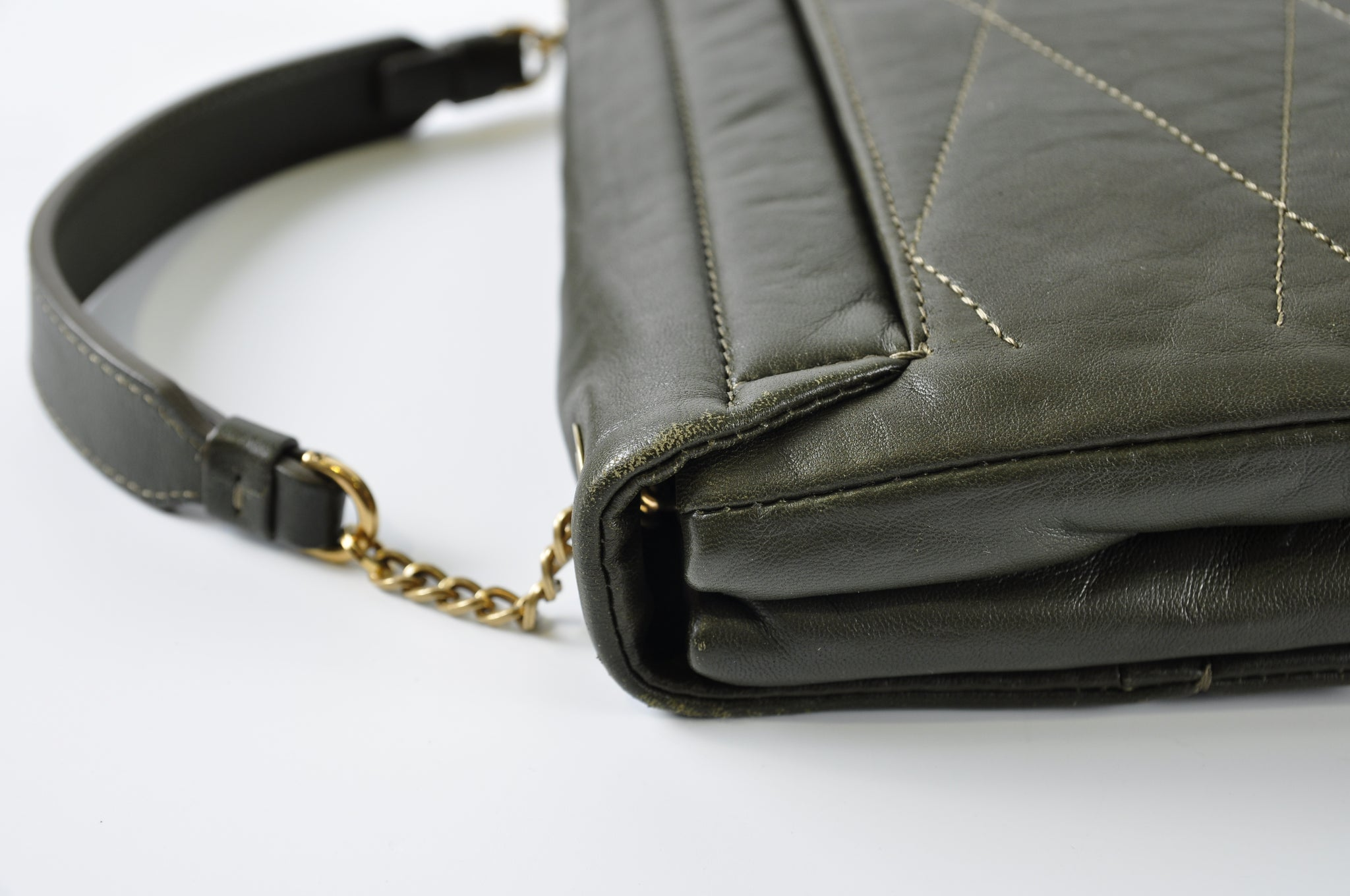 Lanvin Sugar Mini Leather Crossbody Bag in Army Green
