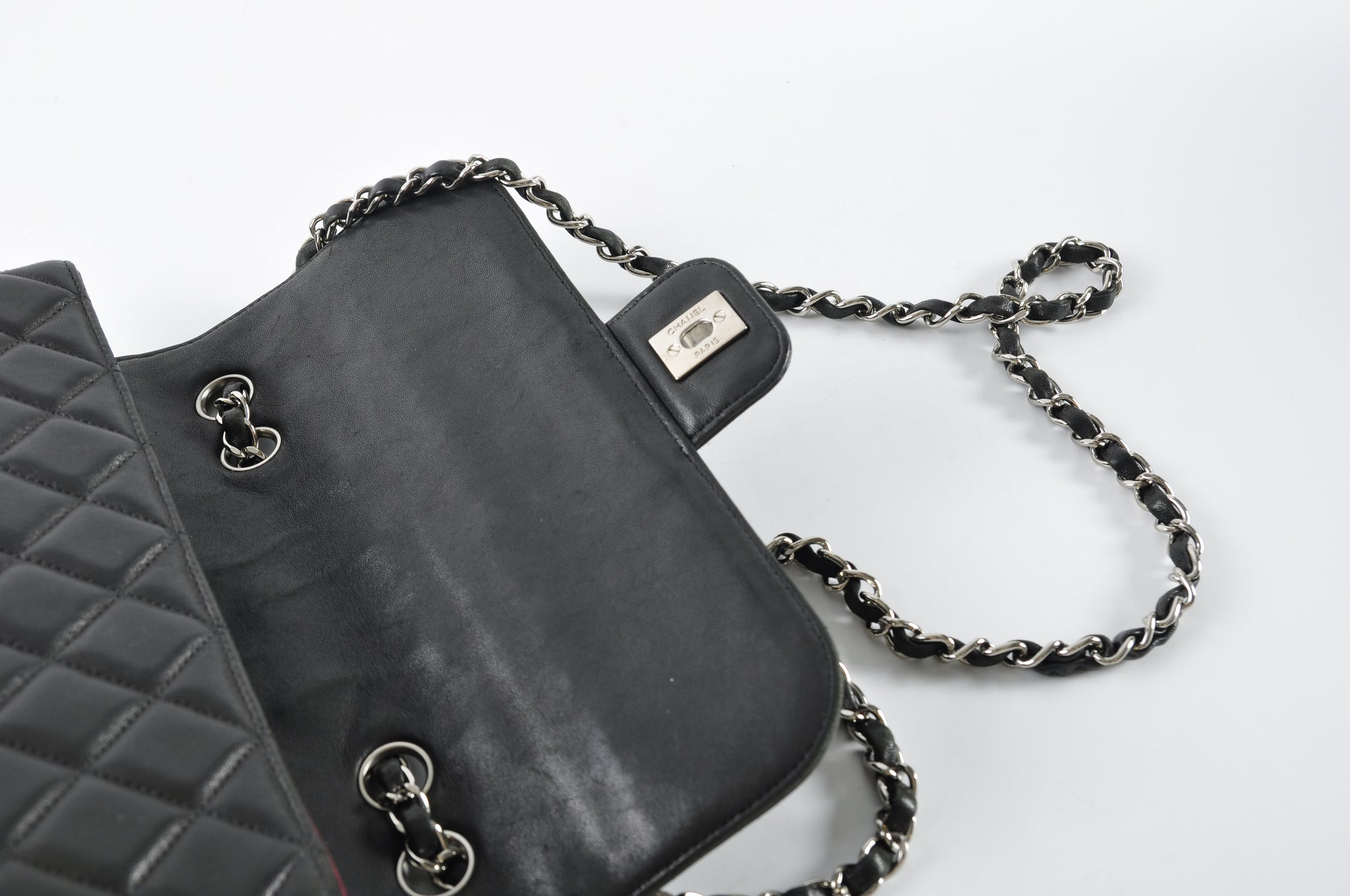 Chanel Black Lambskin Coco Flap in Silver Hardware - Glampot