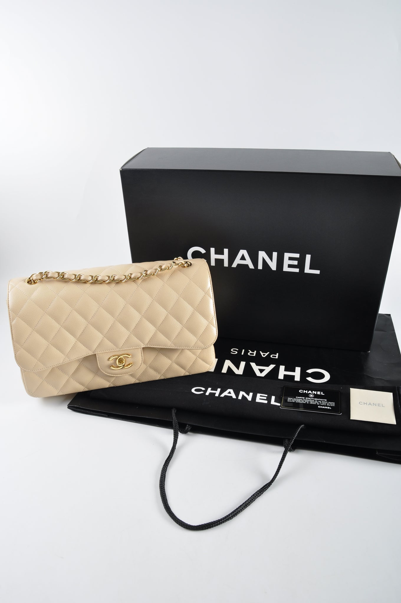 Chanel Beige Caviar Jumbo Double Flap Shoulder GHW 14765876 - Glampot