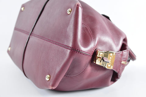Tods Plum Leather D-Styling Bauletto Piccolo Tote Bag