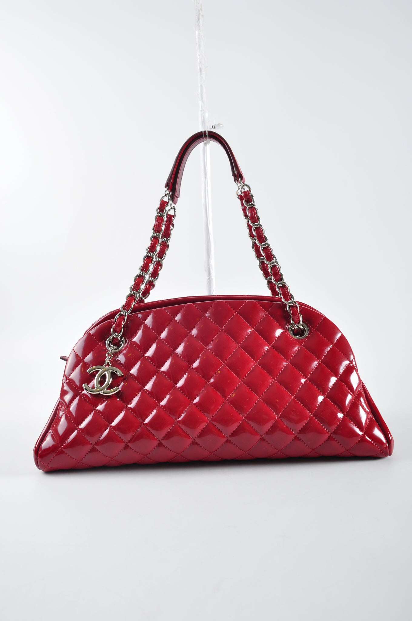 Chanel Mademoiselle Red Patent Bag SHW - Glampot