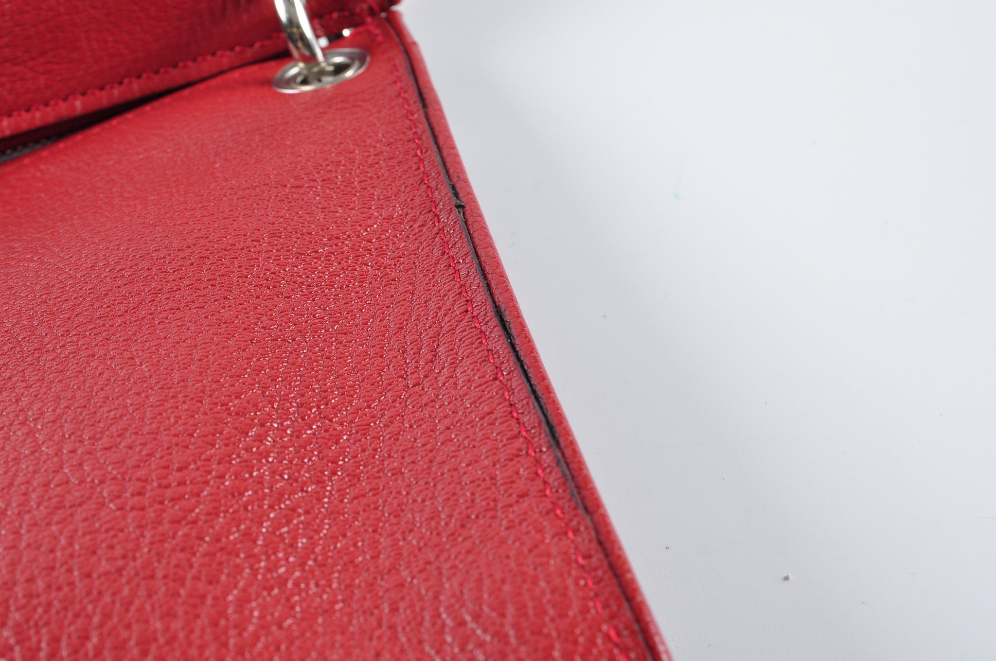 Marni Bandoleer Crossbody Bag in Red Grained Leather
