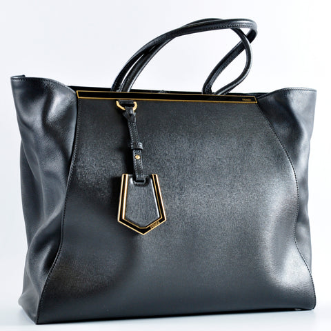 Fendi Black Vitello Leather Large 2Jours Elite Shopper Tote Bag