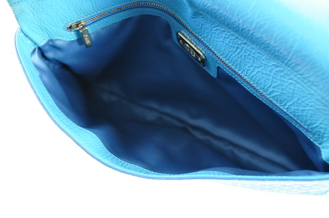 Tod's Patent Leather Signature Gommino Embossed Turquoise Clutch