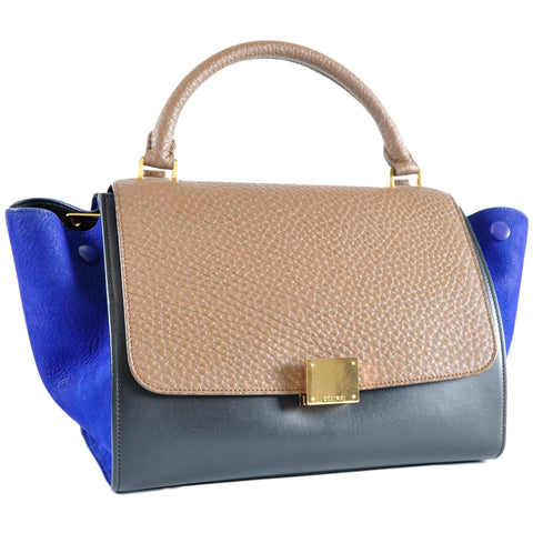 Céline Small Trapeze Handbag Multicolour Bullhide Calfskin and Grained Nubuck - Glampot