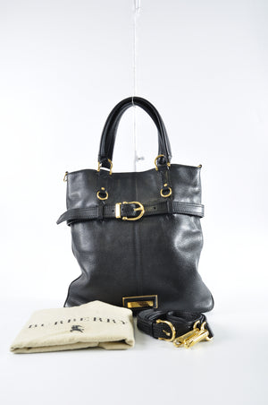 Burberry Black Soft Leather 2- Way Buckle Tote with Nova Check Interior - Glampot